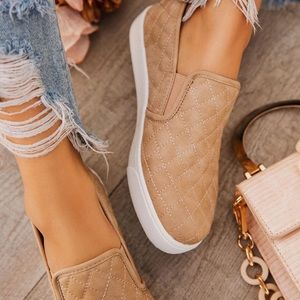 LADIES MAKE WAY TAUPE QUILTED SLIP ON SNEAKERS